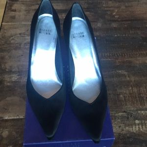 Stuart Weitzman Black Satin Pumps